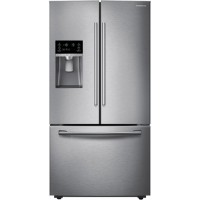 Samsung - 22.5 Cu. Ft. Counter-Depth French Door Refrigerator with Thru-the-Door Ice and Water - Stainless Steel
