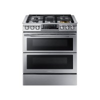 Samsung - 5.8 Cu. Ft. Gas Flex Duo Self-Cleaning Slide-In Smart Range with Convection - Stainless
