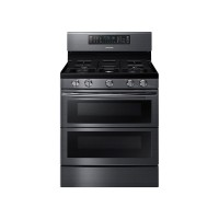 Samsung - 5.8 Cu. Ft. Gas Flex Duo Self-Cleaning Freestanding Smart Range with Convection - Black Stainless Steel