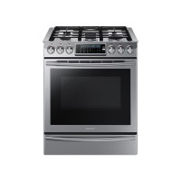 Samsung - 5.8 Cu. Ft. Self-Cleaning Slide-In Gas Convection Range - Stainless Steel